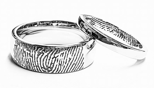 ring preston rings on fingerprintsm partner custom your s fingerprint patterned wedding engagement weddingrings cooljoolz