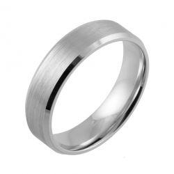 Bevelled Edge and Brushed Flat Court | White Gold, Palladium, Platinum Wedding Rings
