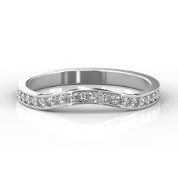 Gentle Curve Shape with Grain Set Diamonds | White Gold, Platinum, Palladium
