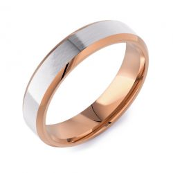 Bevelled Edge Flat Court Two Tone | Rose Gold White Inlay