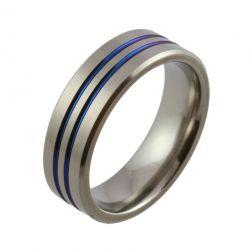Navy Blue Twin Groove Zirconium Wedding Ring