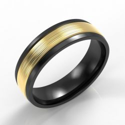 Machined Black Modern Court with 9ct Yellow Gold Inlay