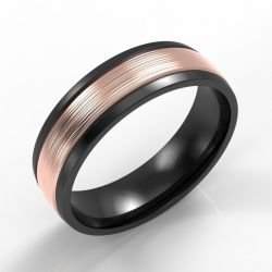 Machined Black Modern Court with 9ct Rose Gold Inlay