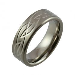 Celtic Knot Design with Satin Finish and Polished Detail Titanium Wedding Ring