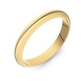 Classic D-Shape Plain | Yellow Gold Wedding Rings