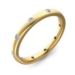 2.5mm Court with Ten Round Diamonds | Yellow Gold