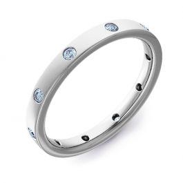 2.5mm Flat Court with Ten Brilliant Cut Diamonds | Palladium, Platinum, White Gold