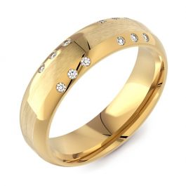 6mm Flattened Domed Court with 12 Diamonds | Yellow Gold