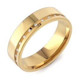 6mm Flat Court with Channel Set Diamonds | Yellow Gold
