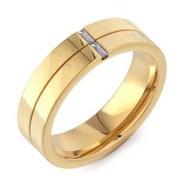 6mm Flat Court with 2 Baguette Diamonds | Yellow Gold