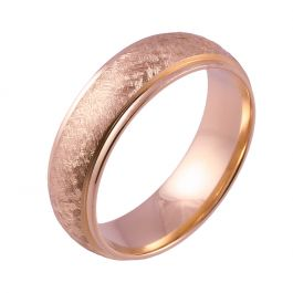 Shoulder Cut Edges and Wire Brushed Court | Rose Gold Wedding Rings