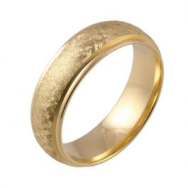 Shoulder Cut Edges and Wire Brushed Court   Yellow Gold Wedding Rings