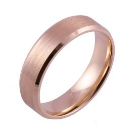 Bevelled Edge and Brushed Flat Court | Rose Gold Wedding Rings