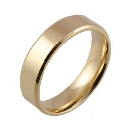 Bevelled Edge Polished Flat Court   Yellow Gold Wedding Rings