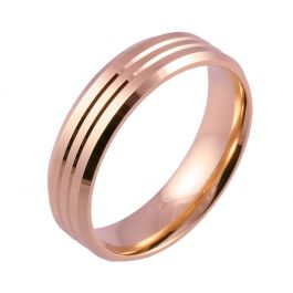 Flat Court with Twin Grooves and Bevelled Edges   Rose Gold Wedding Rings