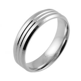 Flat Court with Twin Grooves and Bevelled Edges  White Gold, Palladium, Platinum
