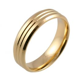 Flat Court with Twin Grooves and Bevelled Edges   Yellow Gold Wedding Rings