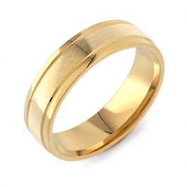 Machined Modern Court with Twin Finish | Yellow Gold Wedding Rings