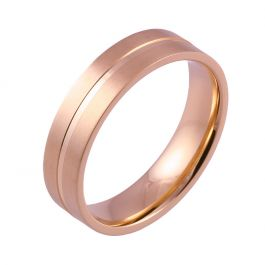 Machined Central Groove Flat Court | Rose Gold Wedding Rings