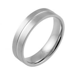 Machined Central Groove Flat Court | White Gold, Palladium, Platinum Wedding Rings