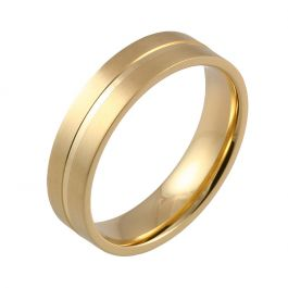 Machined Central Groove Flat Court | Yellow Gold Wedding Rings