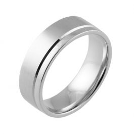 Machined Offset Groove Flat Court | White Gold, Palladium, Platinum Wedding Rings