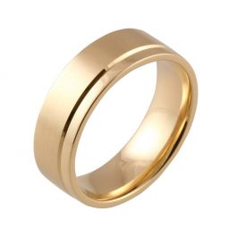 Machined Offset Groove Flat Court   Yellow Gold Wedding Rings