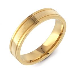 Machined Flat Court with Twin Finish | Yellow Gold Wedding Ring