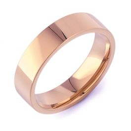 Flat Court Plain | Rose Gold Wedding Rings