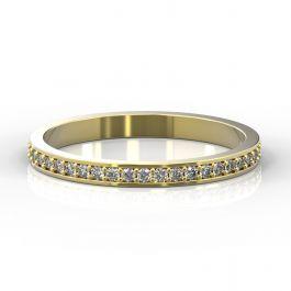 2mm Grain Set Half Eternity Ring   Yellow Gold