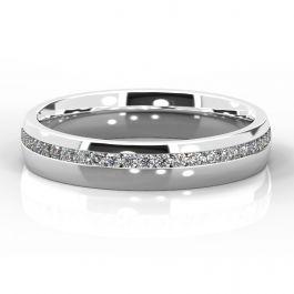4mm Offset Diamond Eternity Ring | White Gold, Palladium, Platinum