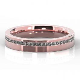 4mm Offset Princess Cut Diamond Ring | Rose Gold
