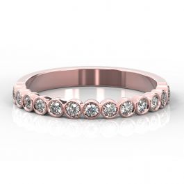 2.5mm Rubover Style Half Eternity Ring   Rose Gold