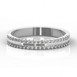 4mm Double Row Claw Set Diamond Ring   Platinum, White Gold, Palladium