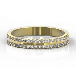 4mm Double Row Claw Set Diamond Ring | Yellow Gold
