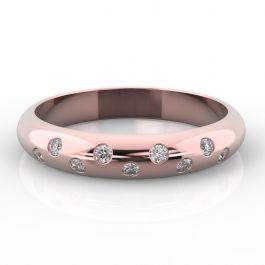 3.5mm D Shape with Nine Biased Set Diamonds | Rose Gold