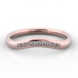 Gentle Curve Shaped Ring with Channel Set Diamonds | Rose Gold