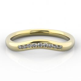 Gentle Curve Shaped Ring with Channel Set Diamonds | Yellow Gold