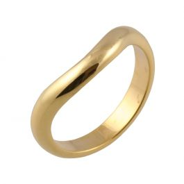 Medium Curve Shaped Classic D | Yellow Gold Wedding Rings