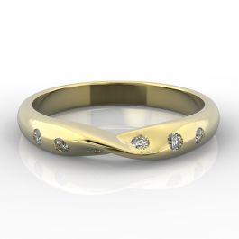 Twist with Six Flush Set Diamonds | Yellow Gold