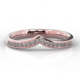 Wishbone with Channel Set Diamonds | Rose Gold