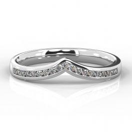 Wishbone with Channel Set Diamonds | Platinum, Palladium, White Gold