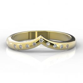 Wishbone with Nine Flush Set Diamonds | Yellow Gold