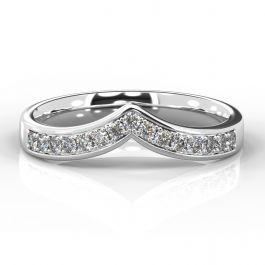 Wishbone with Grain Set Diamonds | White Gold, Platinum, Palladium