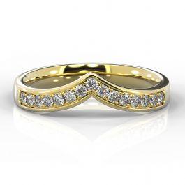 Wishbone with Grain Set Diamonds | Yellow Gold