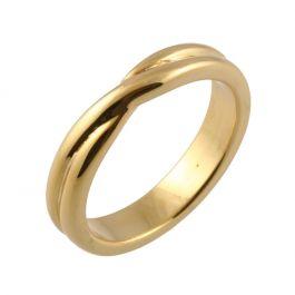 Crossover Twist Shape | Yellow Gold Wedding Rings