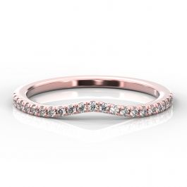 Curve Shaped Micro Claw Diamond Band | Rose Gold