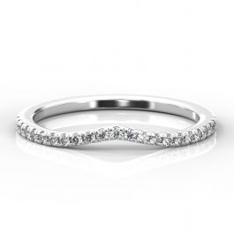 Curve Shaped Micro Claw Diamond Band   Platinum, White Gold