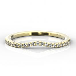 Curve Shaped Micro Claw Diamond Band | Yellow Gold