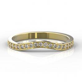 Gentle Curve Shape with Grain Set Diamonds | Yellow Gold
